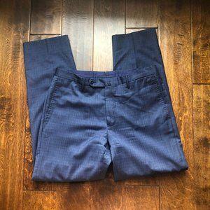Incotex Blue Plaid Matty Super 130's Dress Pants